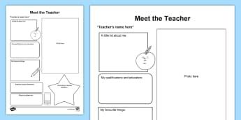 Meet the Teacher Parent and Carer Information Sheet - meet the teacher, start school, transition, teacher information, class information, home school link
