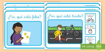 Tarjetas de preguntas: Escenarios - ¿Por qué? - escenarios, por qué, porque, NEE, autismo, preguntas, comprensión, lectura, leer, inferir, inferen