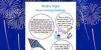 EYFS Bonfire Night Home Learning Challenges Nursery FS1 - eyfs, bonfire night