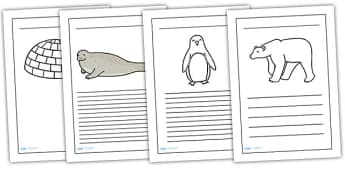 Polar Regions Writing Frames - polar regions, writing frames, writing guides, writing aids, lined guides, writing template, writing, literacy