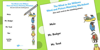 The Wind in the Willows Word and Picture Match - words, matching