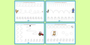 Farmer and Duck Pencil Control Sheets - Farmer duck, farmer duck pencil control, pencil control, farmer duck worksheets, pencil control worksheets