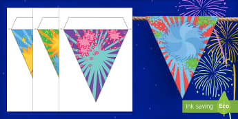 Editable Fireworks Display Bunting