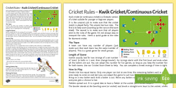Rules for Kwik Cricket Activity - Oval, Wicket, Batting, Fielding, Running, instructions,
