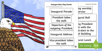 KS2 Inauguration Day Events Ordering Activity - KS1/2 Donald Trump Inauguration Day Jan 20th 2017, Inauguration Day events, Inaugural parade, Inaugu
