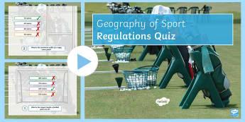 Sport Regulations PowerPoint - Quiz, field, rules, balls, Stadium, wins, points,