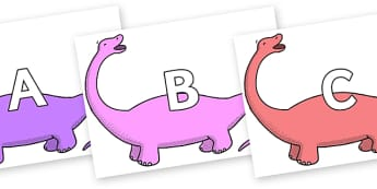 A-Z Alphabet on Apatosaurus to Support Teaching on Harry and the Bucketful of Dinosaurs - A-Z, A4, display, Alphabet frieze, Display letters, Letter posters, A-Z letters, Alphabet flashcards