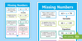 Missing Numbers Algebra Display Poster - working wall, maths display, year 6, problem solving, maths mastery, equations