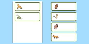 The Gruffalo Editable Drawer-Peg-Name Labels - The Gruffalo, resources, mouse, fox, owl, snake, Gruffalo, fantasy, rhyme, story, story book, story book resources, story sequencing, story resources, Editable Drawer - Peg - Name Labels - Classroom Labe
