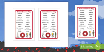 Remembrance Day Word Prompt IKEA Tolsby Frame - poppy day, soldiers, remember, word bank, EYFS, KS1, KS2