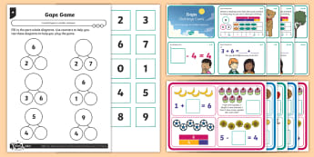 Missing Number Puzzles Differentiated Worksheet / Activity Sheets - Count back, count on, finding gaps, reasoning, subtraction, number bonds, how many fewer? how many l