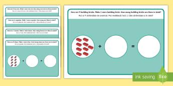 Add One More Playdough Mats English/Romanian - Maths, Mathematics, Adding, Plus, Addition, Number, EAL