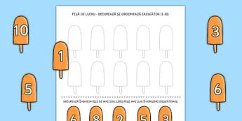 Ordonarea numerelor - Fișă de lucru - vara, fișă de lucru, ordonarea numerelor, numere, 0-10, înghețată, materiale didactice, română, romana, material, material