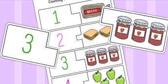 Food Themed Counting Matching Puzzle - ESL Counting Puzzle