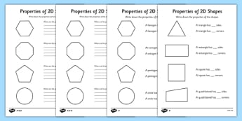 Year 2 Properties Of 2D Shapes Activity Sheet Pack - activity, sheets, worksheet