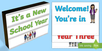 First Day of School Light Box Inserts - Australia, EYLF, Themes Topics and events, beginning of year, F - 2, 3-4, 5-6, signs and labels, cla