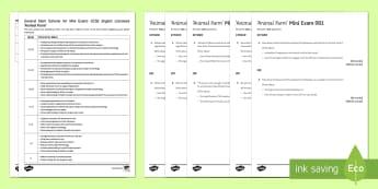 Animal Farm Mini Exam Pack - Animal Farm, mark scheme, aqa, exam, examples, questions, pack