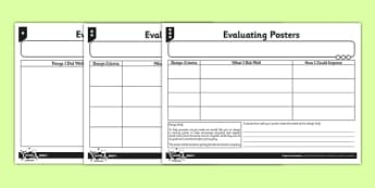 Differentiated Evaluating Posters Activity Sheet - Go Green, Eco, recycle, warrior, environment, worksheet