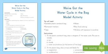 We've Got the Water Cycle in the Bag Model Activity - Water Cycle, Water Cycle Model, Water Cycle Experiment, Evaporation, Condensation, precipitation, Ac