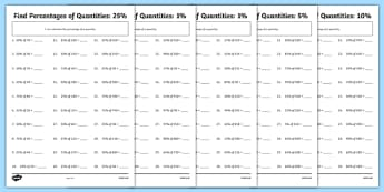 Find Percentages of Quantities Differentiated Activity Sheet Pack, worksheet