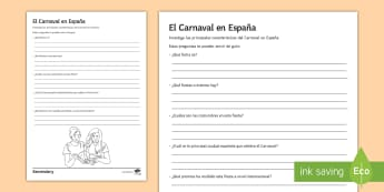 Carnival Research Project Activity Sheet Spanish - Celebrations, tenerife, festival, festivity, party, Fancy, Dress, writing