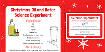 Christmas Oil and Water Science Experiment - christmas, oil, water, science experiment