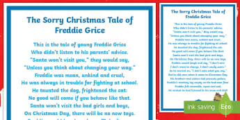 KS2 The Sorry Christmas Tale of Freddie Grice Poem - Christmas, poem, poetry, activity sheet, worksheet
