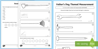 Father's Day Themed Length Measurement Activity Sheet - ACMMG084, measure length, compare length, used scaled instruments, record length, Centimeters, ruler