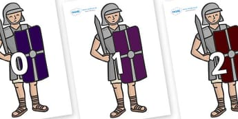 Numbers 0-31 on Roman Legionaries - 0-31, foundation stage numeracy, Number recognition, Number flashcards, counting, number frieze, Display numbers, number posters