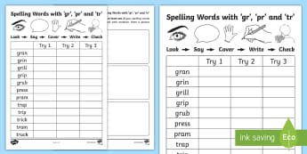 'gr', 'pr' and 'tr' Spelling List Activity Sheets - CCVC, Phonics, consonant, blend, cluster, Early Spelling, Sounding Out, Tallying, Writing Words,Scot