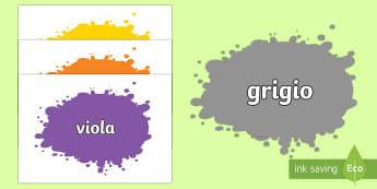 Nomi dei Colori sugli schizzi Poster - poster, colori, colorati, nomi, vocaboli, italiano, italia, schizzi, materiale, scolastico, arte