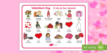 * NEW * Valentine's Day Word Mat - English / Spanish  - Valentines Day Word Mat - valentines, cupid, love, keywords, mat, Valantines, valintines, valentines