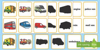 People Who Help Us Vehicles Shadow Matching Cards - People Who Help Us, jobs, occupations, helping, everyday life, ks1, ambulance, paramedic, bus, drive