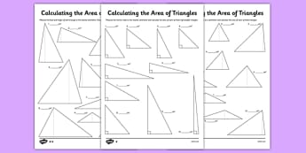 Differentiated Calculating the Area of Triangles Activity Sheet Pack - KS2, Key Stage 2, Area, triangles, formula, formulae, maths, geometry, calculate, shapes, measure, year 6, y6, worksheet