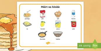 Pancake Tuesday Word Mat Gaeilge - pancake day, pancake tuesday, shrove tuesday, pancake, gaeilge, word mat, word, mat