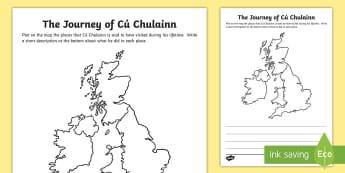 The Journey of Cú Chulainn Map Worksheet / Activity Sheet - CfE Cú Chulainn, Irelend, Scotland, warrior, social studies, journey, map, cu chullain, cuchullain,
