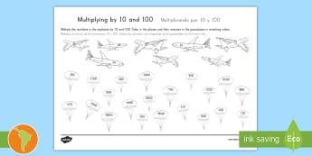 Multiplying by 10 and 100 Activity Sheet US English/Spanish (Latin) - dividing, dividing by 10, dividing by 100, place value, tenths, hundredths, ones, units, decimal, sp