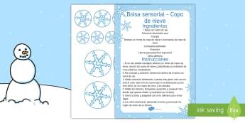 Bolsa sensorial: Copo de nieve Bolsa sensorial - bolsa sensorial, invierno, sentidos, copo de nieve, copos de nieve, nieve,Spanish