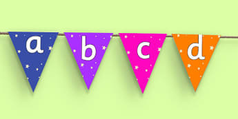 Star Themed Alphabet Bunting - alphabet, bunting, display, a-z, buntin