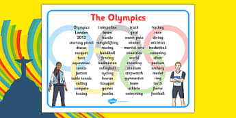The Olympics Word Mat - Olympics, Olympic Games, sports, Olympic, London, 2012, word mat, writing aid, mat, Olympic torch, flag, countries, medal, Olympic Rings, mascots, flame, compete, tennis, athlete, swimming, race,