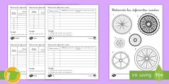 Ficha de actividad: Midiendo los centímetros de las ruedas - centimetros, centímetro, centimetros, centimetros, medicion, medición, medir, midiendo, estimar, e