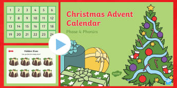 Phase 4 Christmas Phonics Advent Calendar PowerPoint - December, Reading, Game, Phonics Activity, Sounds