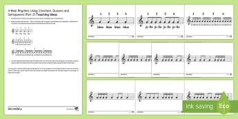 Teaching 4-Beat Rhythms Part 2 Cards -  pulse, rhythm, crotchet, quaver, semi-quaver