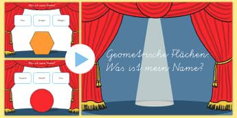 Geometrische Flächen Namen PowerPoint Spiel - Geometrie, Flächen, 2D, Ebene Figuren, Spiel, Namen, German