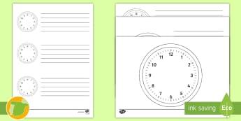 * NEW * Ficha de actividad: Relojes en blanco - números, reloj, minutos, segundos, minutero, secundero, horas, y media, en punto, y cuarto, menos c