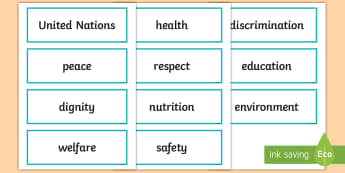 KS2 Universal Children's Day Word Cards - events, united nations, children's rights, display, word recognition