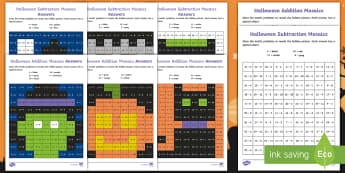 KS1 Halloween Addition and Subtraction Mosaic Activity Pack - 31st October, maths, solve, number bonds, questions