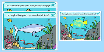 Under the Sea Playdough Mats Spanish - spanish, Under the Sea, Sea, seaside, Playdough, mat, fish, octopus, sea, seaside, water, tide, fish, sea creatures, shark, whale, marine life, dolphin