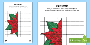 KS2 Poinsettia Activity Sheet - christmas, flower, tradition, traditional, mexico, maths, symmetry, reflection, worksheet