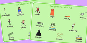 Two Syllable STR Word Mats - sen, sound, str sound, str, two syllable, word mat